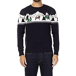 Burton - Navy polygon reindeer novelty Christmas jumper