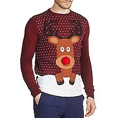 Burton - Burgundy Christmas reindeer jumper