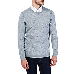 Burton - Textured grey crew neck jumper