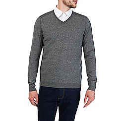 Burton - Grey textured v neck jumper