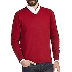 Burton - Red v-neck jumper
