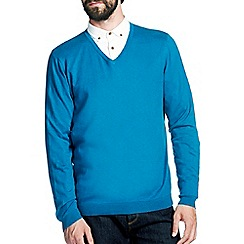 Burton - Teal v-neck jumper