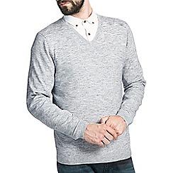 Burton - Grey texture v-neck jumper