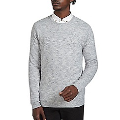 Burton - Grey texture crew neck jumper
