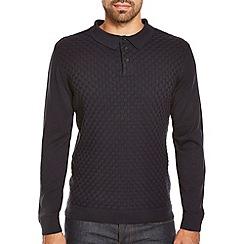 Burton - Navy basket stitch textured polo shirt