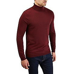 Burton - Burgundy roll neck knitted jumper