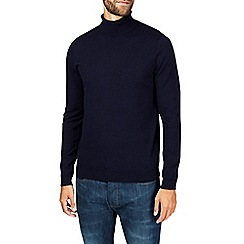 Burton - Navy roll neck knitted jumper