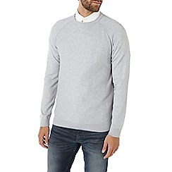 Burton - Grey textured curl neck jumper
