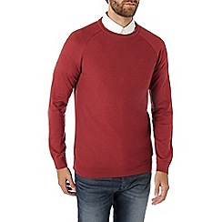 Burton - Red textured curl neck jumper