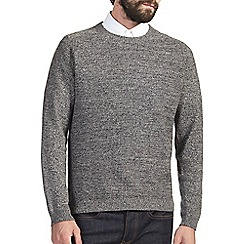 Burton - Grey textured crew neck jumper