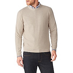 Burton - Oatmeal textured crew neck jumper