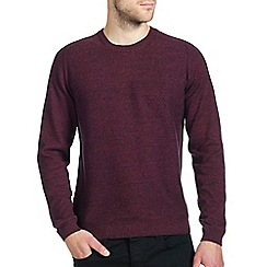 Burton - Red textured crew neck jumper