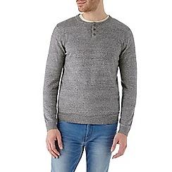 Burton - Grey grandad style knitted jumper