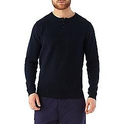 Burton - Navy grandad style knitted jumper