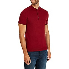 Burton - Red short sleeve knitted polo shirt