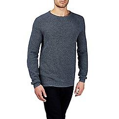 Burton - Grey textured raglan crew neck jumper