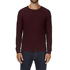 Burton - Burgundy textured knitted jumper