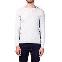 Burton - Grey textured crew neck jumper
