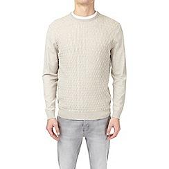 Burton - Cream ecru patterned crew neck jumper