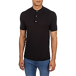 Burton - Black short sleeve knitted polo shirt
