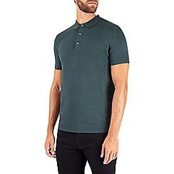 Burton - Green short sleeve knitted polo jumper