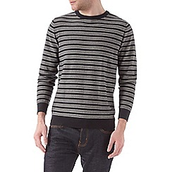 Burton - Navy fine striped crew neck