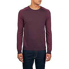 Burton - Montague burton 100% merino wool panelled crew neck jumper