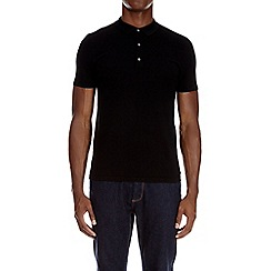 Burton - Black textured knitted polo shirt