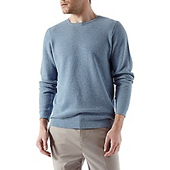 Burton - Light blue textured crew neck jumper
