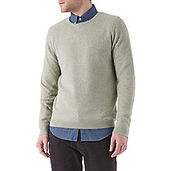 Burton - Stone textured crew neck jumper