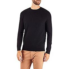 Burton - Black textured smart crew neck jumper