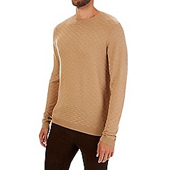 Burton - Camel textured smart crew neck jumper