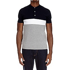 Burton - Navy colour block knitted polo shirt