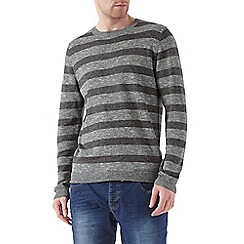 Burton - Tonal blue striped crew neck jumper
