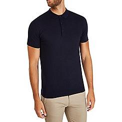 Burton - Navy short sleeve knitted polo shirt