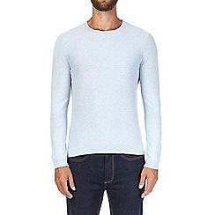 Burton - Light blue textured crew neck jumper