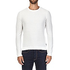 Burton - White textured crew neck jumper