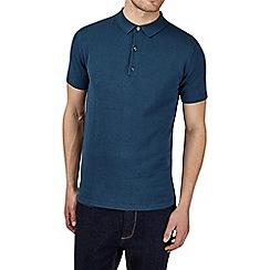 Burton - Teal knitted polo shirt