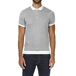 Burton - Grey jacquard knitted polo shirt