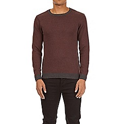 Burton - Burgundy herringbone crew neck jumper