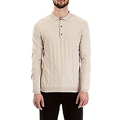 Burton - Cream ecru patterned knitted polo shirt