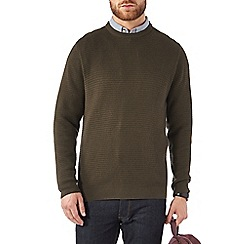 Burton - Khaki textured crew neck jumper