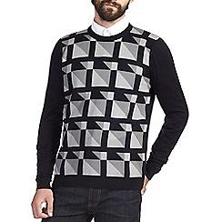Burton - Navy square geo print crew neck jumper