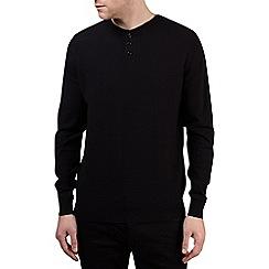 Burton - Black textured grandad collar jumper