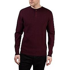 Burton - Burgundy textured grandad collar jumper