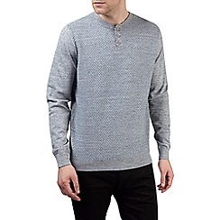 Burton - Grey textured grandad collar jumper