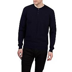 Burton - Navy textured grandad collar jumper