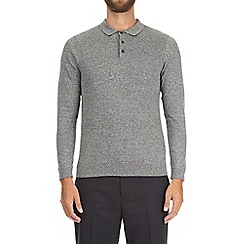 Burton - Grey marl long sleeve textured polo shirt