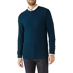Burton - Teal textured crew neck jumper
