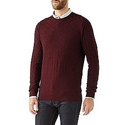 Burton - Burgundy textured crew neck jumper